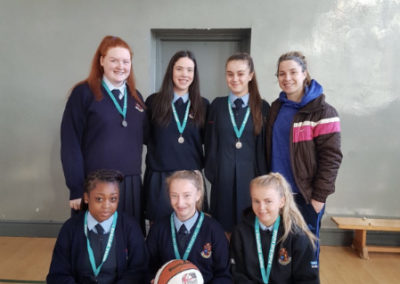 U19 Girls Basketball team who reached Leinster League Finals