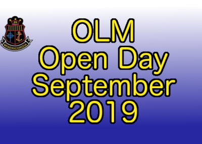 "Sign saying ""OLM Open Day September 2019"""